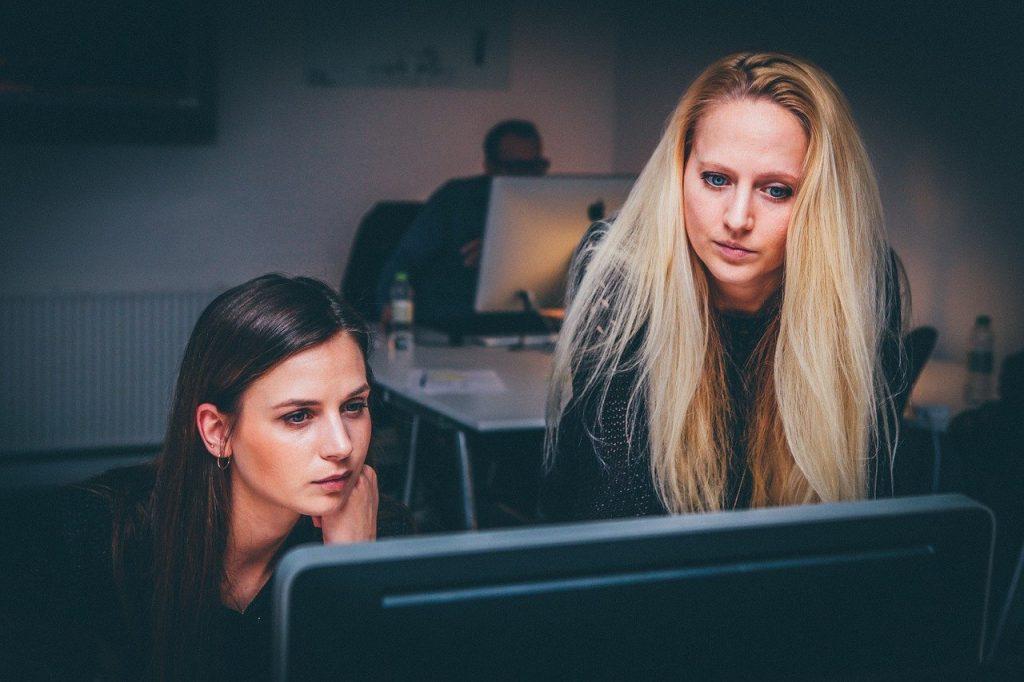 women at laptop working
